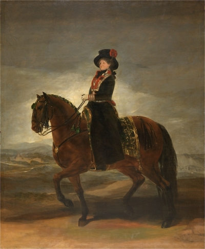 Recording of Queen Maria Luisa on horseback (1799) by Francisco de Goya