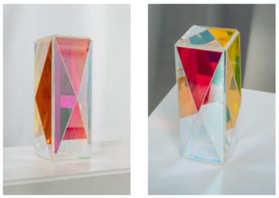 Experimenting with Paula Crown: dichroic glass wine case