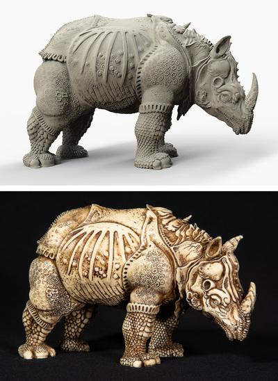 Physical Rhinoceros sculptures created from Dürer's woodcut