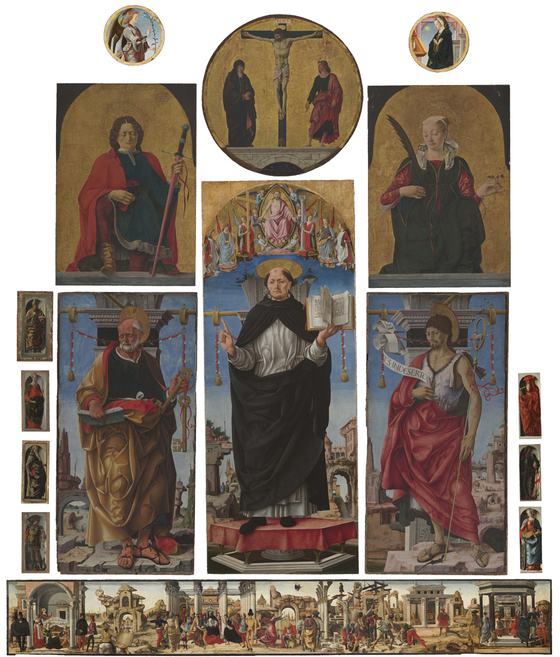 One of the suggested reconstructions of the Griffoni Polyptych indicating the relative position of the different panels