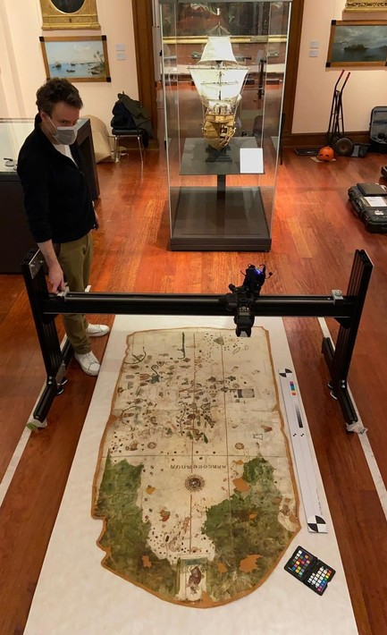 Recording the chart of Juan de la Cosa at the Museo Naval in Madrid