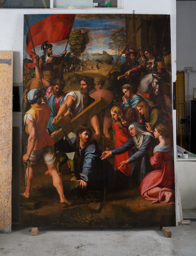 The migration of a painting: a recreation of Raphael's <i>Lo Spasimo</i> returns to Palermo as a panel painting and is installed into its original frame